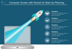 Computer Screen With Rocket For Startup Planning Ppt PowerPoint Presentation Inspiration Tips