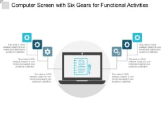 Computer Screen With Six Gears For Functional Activities Ppt PowerPoint Presentation Slides Model