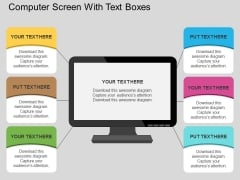 Computer Screen With Text Boxes Powerpoint Template