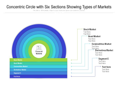 Concentric Circle With Six Sections Showing Types Of Markets Ppt PowerPoint Presentation File Elements PDF