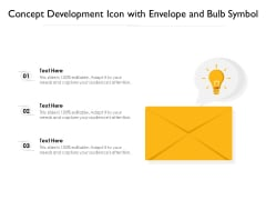 Concept Development Icon With Envelope And Bulb Symbol Ppt PowerPoint Presentation File Styles PDF