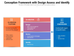 Conception Framework With Design Assess And Identify Ppt PowerPoint Presentation Gallery Icon PDF