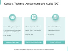 Conduct Technical Assessments And Audits Plan Ppt PowerPoint Presentation Outline Information