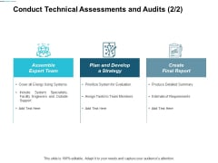 Conduct Technical Assessments And Audits Strategy Ppt Powerpoint Presentation Summary Deck