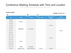 Conference Meeting Schedule With Time And Location Ppt PowerPoint Presentation File Picture PDF