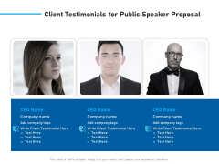 Conference Session Client Testimonials For Public Speaker Proposal Ppt Show Infographic Template PDF
