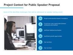 Conference Session Project Context For Public Speaker Proposal Ppt Model Show PDF