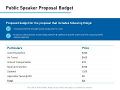 Conference Session Public Speaker Proposal Budget Ppt File Inspiration PDF
