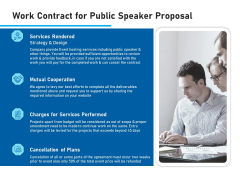 Conference Session Work Contract For Public Speaker Proposal Ppt Model Ideas PDF