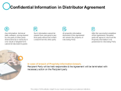 Confidential Information In Distributor Agreement Ppt PowerPoint Presentation Summary Clipart