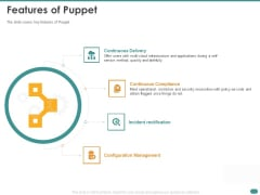 Configuration Management With Puppet Features Of Puppet Infographics PDF
