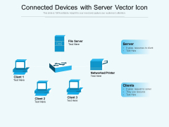 Connected Devices With Server Vector Icon Ppt PowerPoint Presentation Show Professional PDF