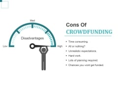 Cons Of Crowdfunding Ppt PowerPoint Presentation Gallery Layout Ideas