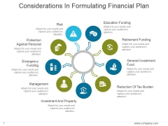 Considerations In Formulating Financial Plan Ppt PowerPoint Presentation Design Templates