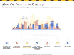 Construction Business Company Profile About Our Construction Company Sample PDF