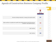 Construction Business Company Profile Agenda Of Construction Business Company Profile Microsoft PDF