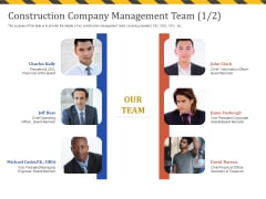 Construction Business Company Profile Construction Company Management Team Teamwork Icons PDF