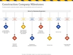Construction Business Company Profile Construction Company Milestones Ppt Ideas Icon PDF