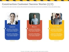 Construction Business Company Profile Construction Customer Success Stories Background PDF