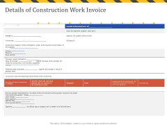 Construction Business Company Profile Details Of Construction Work Invoice Infographics PDF