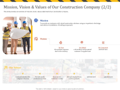 Construction Business Company Profile Mission Vision And Values Of Our Construction Company Merit Icons PDF