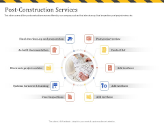 Construction Business Company Profile Post Construction Services Ppt Summary Design Inspiration PDF