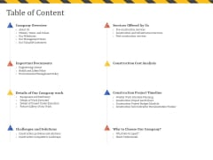 Construction Business Company Profile Table Of Content Ppt Pictures Graphics Template PDF