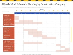 Construction Business Company Profile Weekly Work Schedule Planning By Construction Company Mockup PDF
