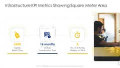 Construction Engineering And Industrial Facility Management Infrastructure KPI Metrics Showing Square Meter Area Ideas PDF