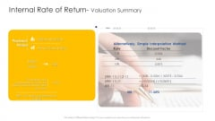 Construction Engineering And Industrial Facility Management Internal Rate Of Return Valuation Summary Topics PDF