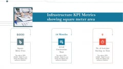 Construction Management Services And Action Plan Infrastructure KPI Metrics Showing Square Meter Area Information PDF