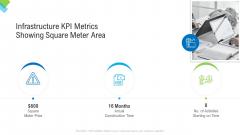 Construction Management Services Infrastructure KPI Metrics Showing Square Meter Area Designs PDF