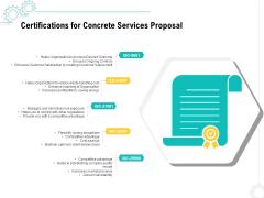 Construction Material Service Certifications For Concrete Services Proposal Designs PDF