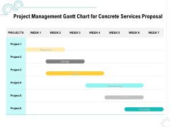 Construction Material Service Project Management Gantt Chart For Concrete Services Proposal Professional PDF