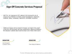 Construction Material Service Sign Off Concrete Services Proposal Pictures PDF