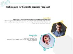 Construction Material Service Testimonials For Concrete Services Proposal Introduction PDF
