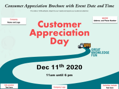 Consumer Appreciation Brochure With Event Date And Time Ppt PowerPoint Presentation File Icons PDF