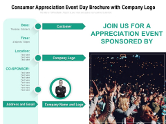 Consumer Appreciation Event Day Brochure With Company Logo Ppt PowerPoint Presentation Gallery Display PDF