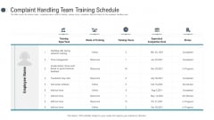 Consumer Complaint Procedure Complaint Handling Team Training Schedule Pictures PDF