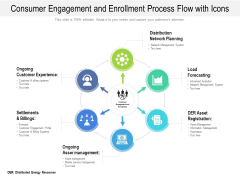 Consumer Engagement And Enrollment Process Flow With Icons Ppt PowerPoint Presentation Gallery Inspiration PDF