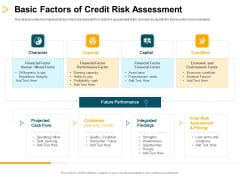 Consumer Lending Procedure Basic Factors Of Credit Risk Assessment Ppt Infographics Information PDF