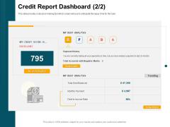 Consumer Lending Procedure Credit Report Dashboard Ppt Ideas Portrait PDF