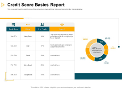 Consumer Lending Procedure Credit Score Basics Report Ppt Icon Shapes PDF