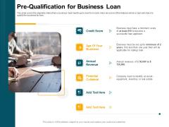 Consumer Lending Procedure Pre Qualification For Business Loan Ppt Show Introduction PDF