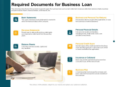 Consumer Lending Procedure Required Documents For Business Loan Ppt Icon Inspiration PDF