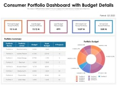 Consumer Portfolio Dashboard With Budget Details Ppt PowerPoint Presentation Styles Graphics Tutorials PDF