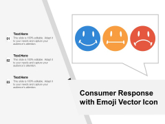 Consumer Response With Emoji Vector Icon Ppt PowerPoint Presentation Gallery Aids PDF