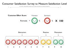 Consumer Satisfaction Survey To Measure Satisfaction Level Ppt PowerPoint Presentation Outline Topics PDF