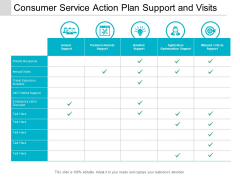 Consumer Service Action Plan Support And Visits Ppt Powerpoint Presentation Show Graphics Example
