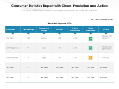 Consumer Statistics Report With Churn Prediction And Action Ppt PowerPoint Presentation Gallery Templates PDF